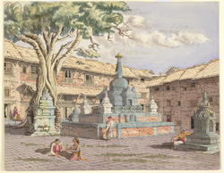 Buddhist Temple in the Square called 'Lughura Tow Vihar', Kathmandoo. November 1852